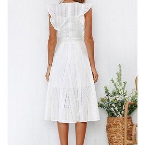 6b98393a4e35 Dresses | Cute Eyelet Ruffle Cap Sleeve White Summer Dress | Poshmark